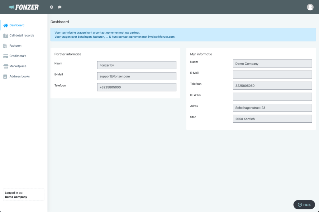 MyFonzer - Client Dashboard